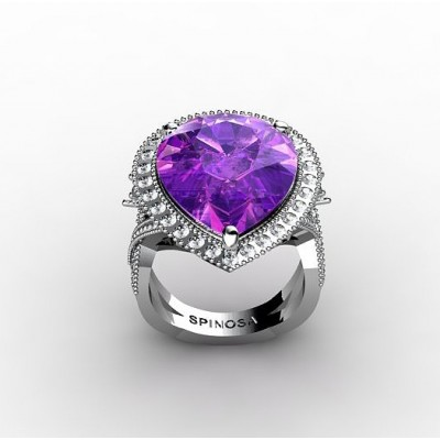 modern cocktail ring with central amethyst