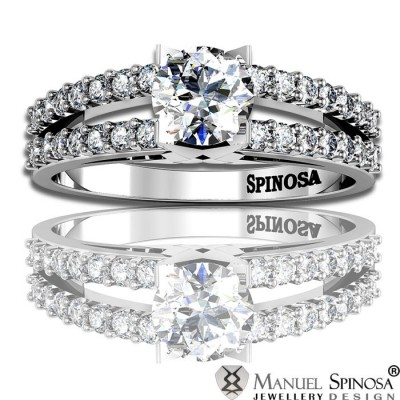 modern engagement ring with diamond and 28 brilliants