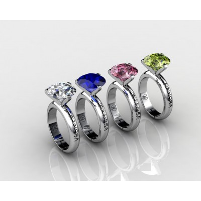 18k Gold Changeable Solitaire Gemstone Ring