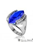 anillo con topacio azul en talla marquise