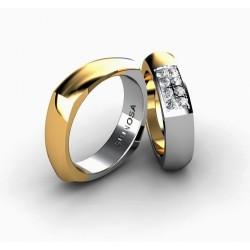Комбинированные обручальные кольца из золота 18 карат квадратной формы