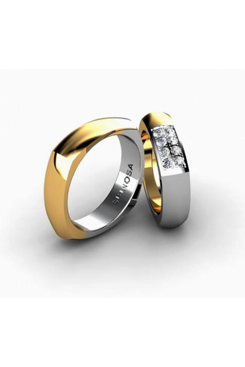 modern square-shaped gold wedding ring