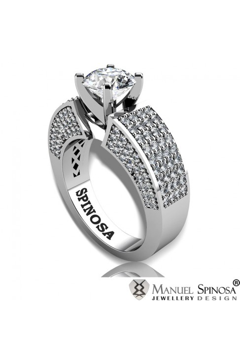 Modern Style Solitaire Engagement Ring with Diamond and 160 Brilliants