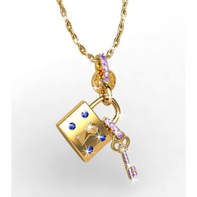 one of a kind lock and key shaped pendant