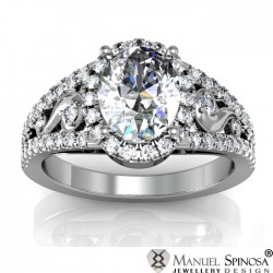Oval Cut 1.07ct Diamond Ring with 58 Brilliants