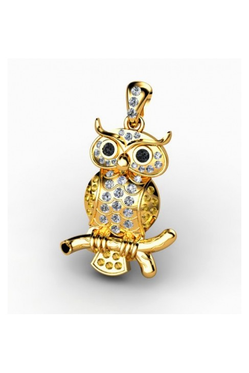 owl shaped pendant with precious gems for fortune and prosperity