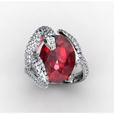 unique snake shaped ring with ruby and diamonds