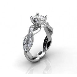 uniquely twisted engagement ring with diamonds