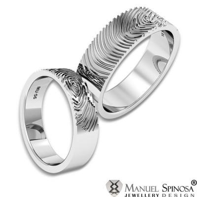 alianzas de boda en oro blanco con la huella dactilar