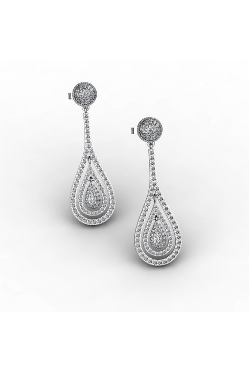 White Gold Earrings with 250 Diamonds