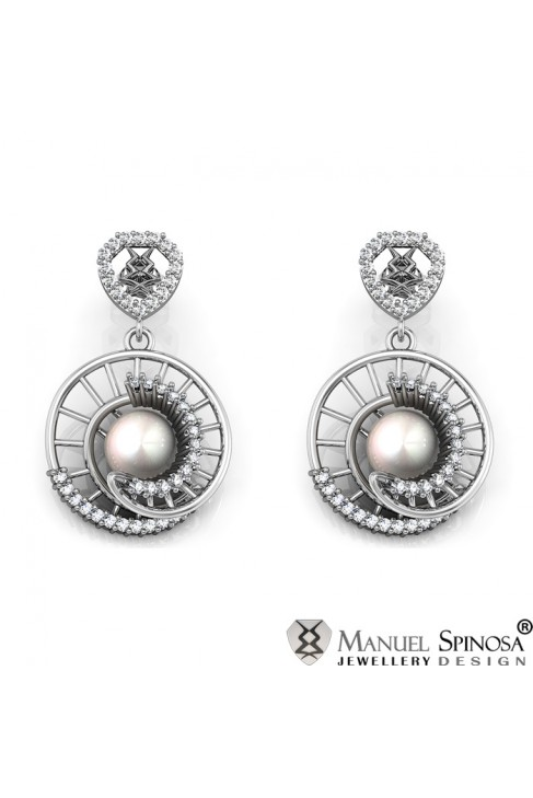 White Gold Earrings with 8 mm Pearls
