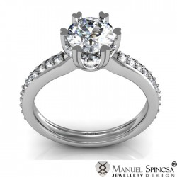 white gold engagement ring with 0.50ct diamond and 30 brilliants