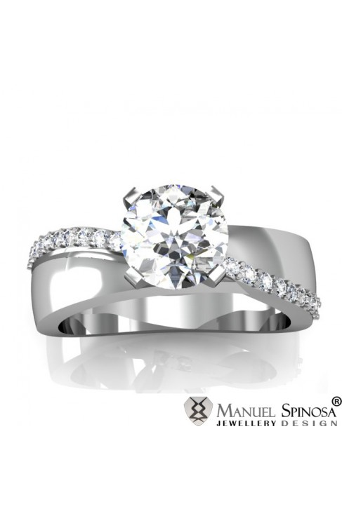white gold engagement ring with 0.5ct diamond and 20 brilliants