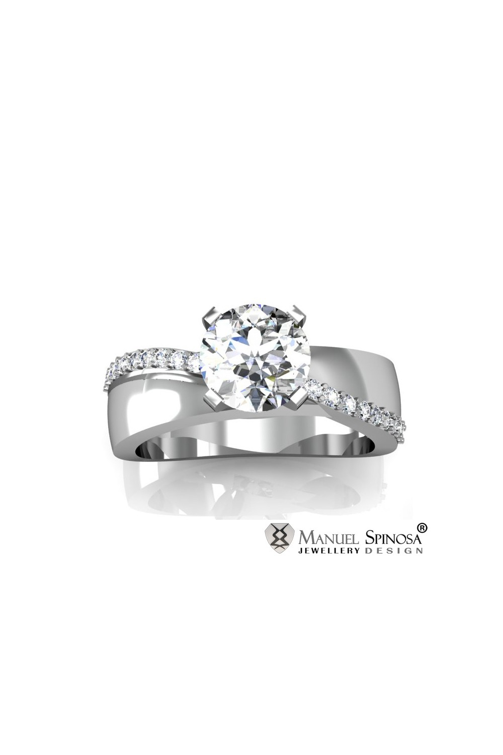 white gold engagement ring with 0 5ct diamond and 20 brilliants