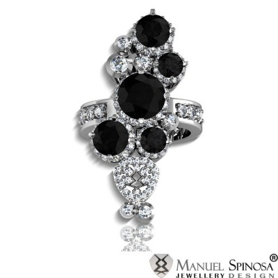 white gold ring with 5 black diamonds and 12 brilliants