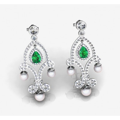 Wonderful Earrings With Pear-Shaped Emeralds, Pearls and Diamonds