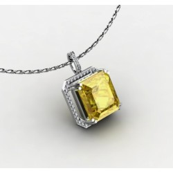 pendant with a citrine gemstone and 45 biamonds