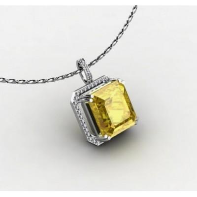 подвеска с цитрином огранки «изумруд» и бриллиантами