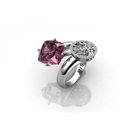 18k gold amethyst cushion gemstone ring