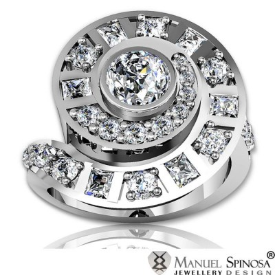 princess cut 0.50ct diamond ring with brilliants in spiral design