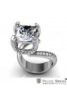 princess cut 1.23ct diamond ring with 10 brilliants