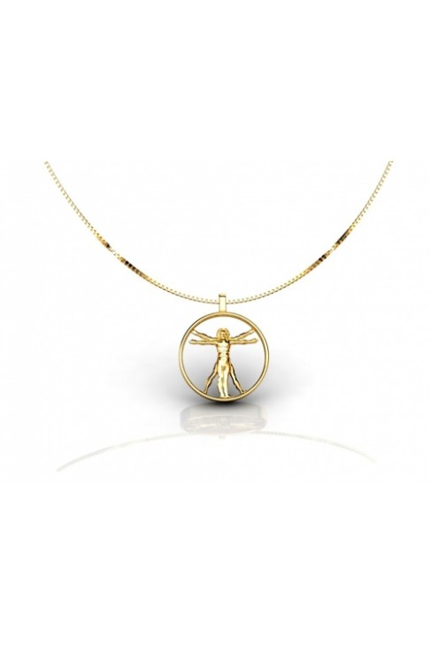 gold necklace vitrubio: da vinci man