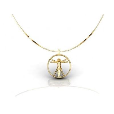 colgante de oro 18k diseño del hombre de vitruvio
