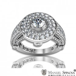 solitaire engagement ring with diamond and 130 brilliants