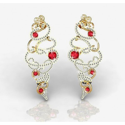 spectacular designer earrings with diamonds and 8 rubies