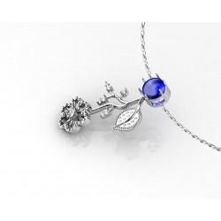 colgante de oro 18k con topacio azul en talla cabujon