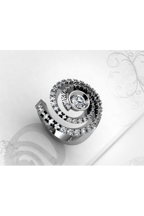 Spiral Shaped 0.22ct Diamond Ring with 46 Brilliants