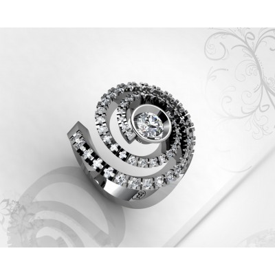 anillo de diamantes y oro blanco 18k