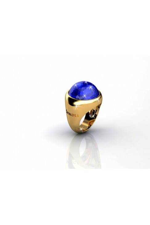 splendid 18k gold ring with big color gemstone