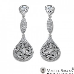 Stunning Earrings with 2 Diamonds and 852 Brilliants
