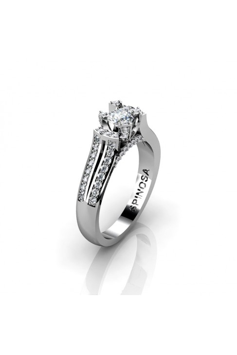 stylish engagement ring with prominent central diamond