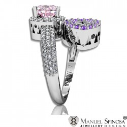 Stylish Ring with Colorful Amethysts and 82 Brilliants