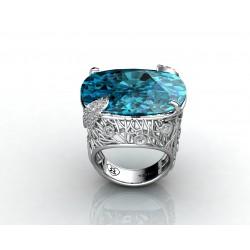 18k gold cushioned cut topaz gemstone ring