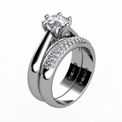 engagement ring with diamond band set
