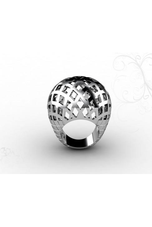 Дизайнерское кольцо из белого золота 18 карат