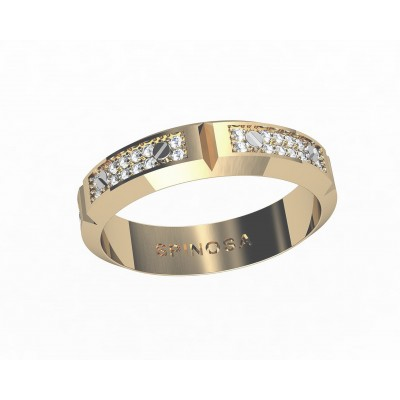 gold wedding ring with a chain drawing an diamonds