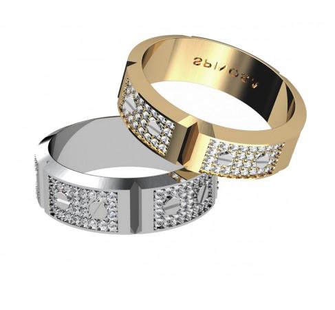 Обручальные кольца со звеньями цепочки, бриллиантами и декоративными болтиками
