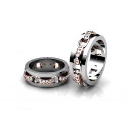 Обручальные кольца в форме цепочки, с бриллиантами