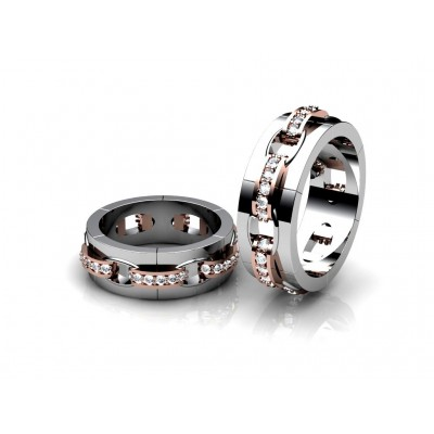 remarkable chain-shaped wedding ring with diamonds