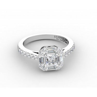 princess cut diamond ring with 4 baguettes y brilliants