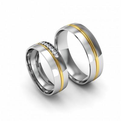 Alianza de boda bicolor en oro amarillo y blanco 18k con brillantes
