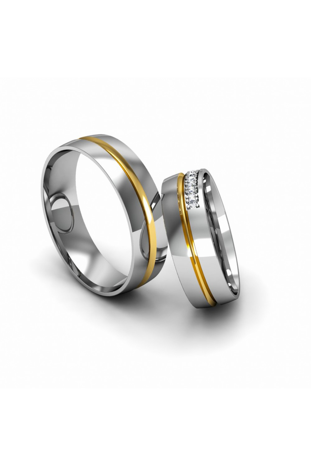 Elegant Modern YellowWhite Gold Wedding Ring