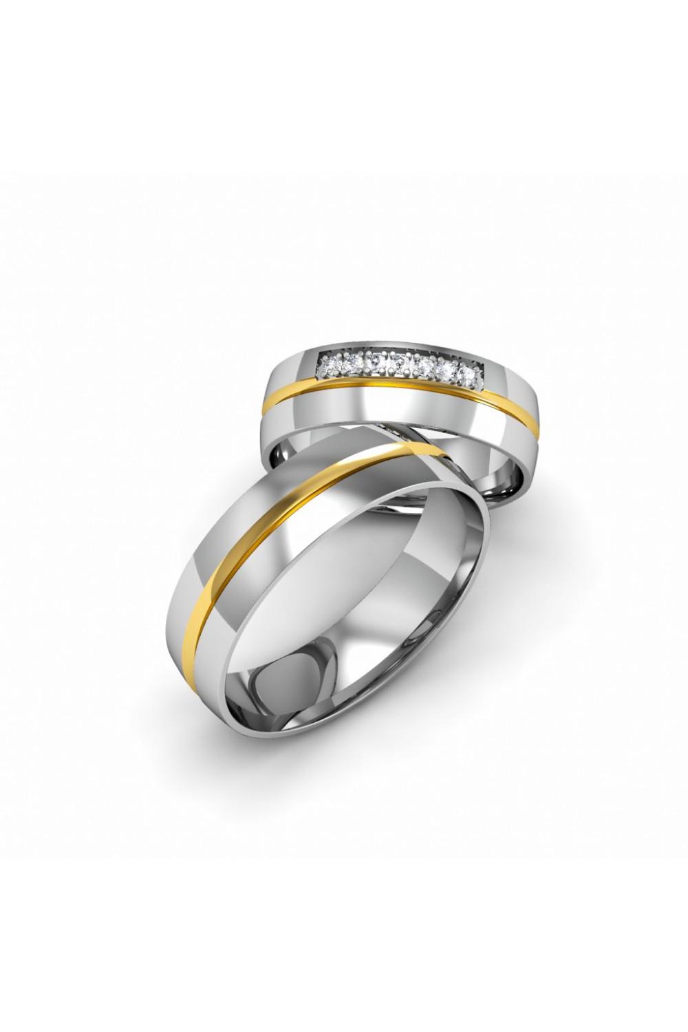 Elegant Modern Yellow White Gold Wedding Ring
