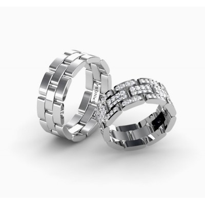Обручальные кольца в форме цепочки с бриллиантами