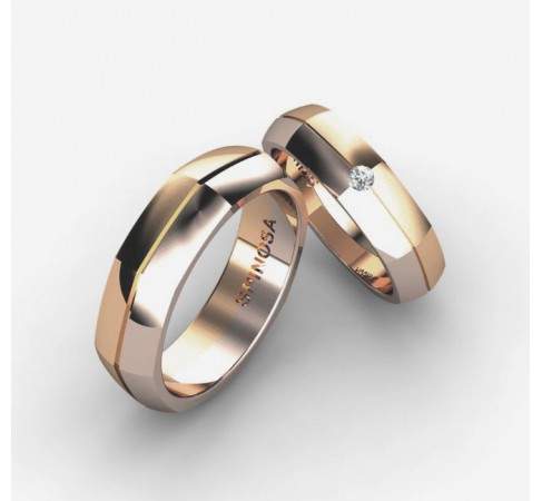 alianzas matrimoniales en oro 18k y brillantes