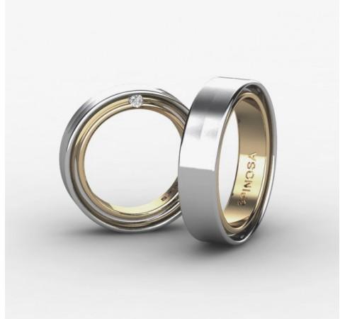 Комбинированные обручальные кольца из золота 18 карат с бриллиантами